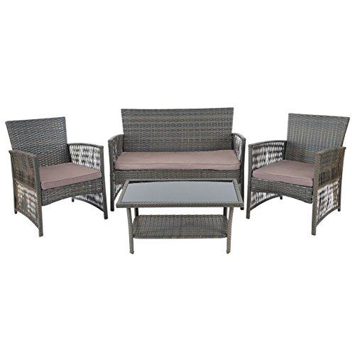 floristikvergleich.de 2-1-1 Poly-Rattan Garten-Garnitur Cordoba, Sitzgruppe Lounge-Set, braun-grau ~ Kissen grau