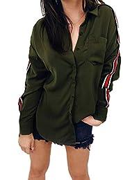 IYHENZ Damen Hemd Langarmshirt Kariertes Hemd Karohemd Hemdkleid Oversize  Cardigan Top Shirtkleid Karo Kleid Knopf Casual f0546509d4