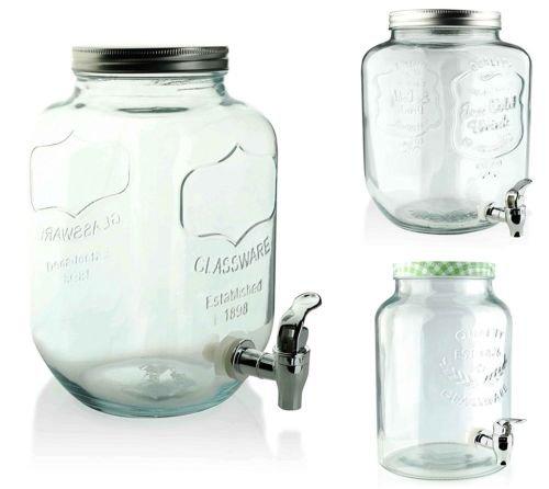 Saftspender 5/8 L aus Glas mit Zapfhahn Wasserspender Getränkespender Landh (8 L) Glas-wasserspender
