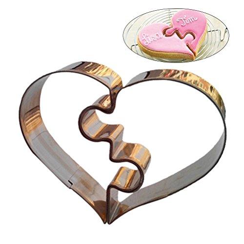 BESTOMZ 2pcs en forma de corazón cortadores de la galleta de acero inoxidable para hornear molde para la fiesta de bodas del día de San Valentín
