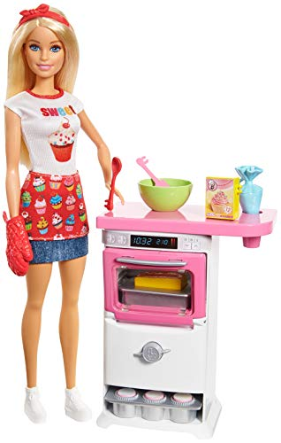 Barbie FHP57 Cooking & Baking Bäckerin Puppe & Spielset, Mehrfarbig - Puppe Küche