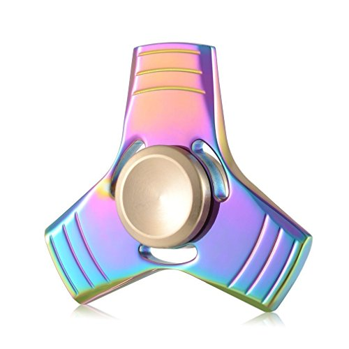 Fidget Spinner Metal High Speed Stainless Steel Bearing ADHD Focus Anxiety Relief Toys (Rainbow)