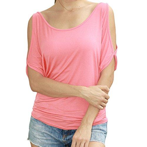 Damen Kurzarm Rundkragen Trägerlos Loose Bat Shirt T-shirt Top Tops Blusen  Oberteile Rosa