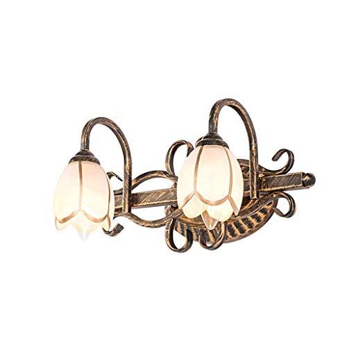 Yunyilian Europäische brille frontleuchte badezimmerspiegelschrank licht retro eisen wandleuchte E14 badezimmer zubehör (Color : 2 Head Light)