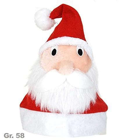 Nikolausmütze mit Gesicht, Gr. 58 cm, Plüsch, Mottoparty, Weihnachten, Mütze