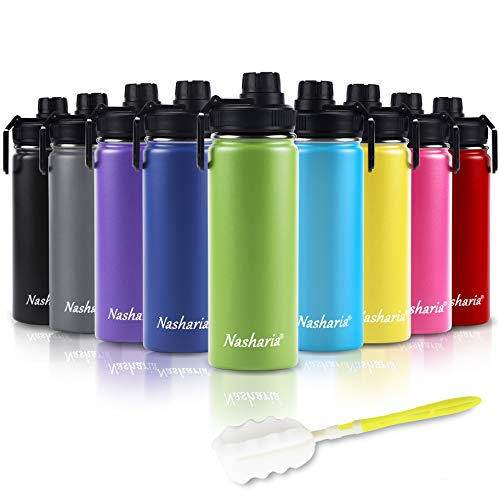 Nasharia Trinkflasche Edelstahl Wasserflasche, 500ml Vakuum Isolierte Edelstahl Trinkflasche aus Hochwertigem Edelstahl für Das Laufen, Fitness, Yoga, Im Freien und Camping | Frei von BPA