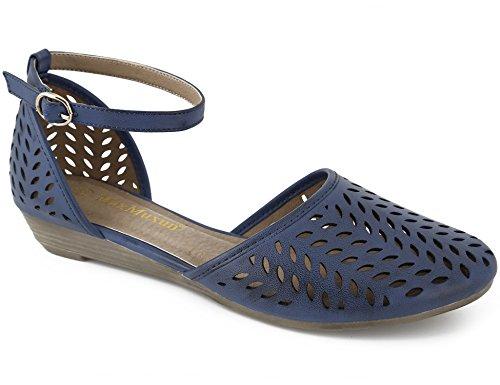 MaxMuxun Damen Geschlossene Sandalen Rund Toe Flach Sandaletten Blau Größe 40EU