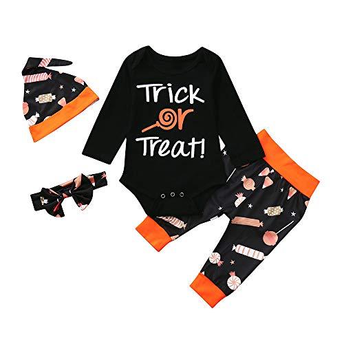 Yanhoo Bekleidungsset Unisex Baby Halloween Kostüm Set 4 Stück Langarmshirt Letter Top +Trousers +Hat +Hairband 6M~24M