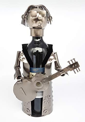 Moderner Wein Flaschenhalter Gitarrist aus Metall Höhe 31,5 cm -