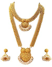 6f7ba6484eb93 LookEthnic Traditional South Indian Golden Haram Necklace Set for Women