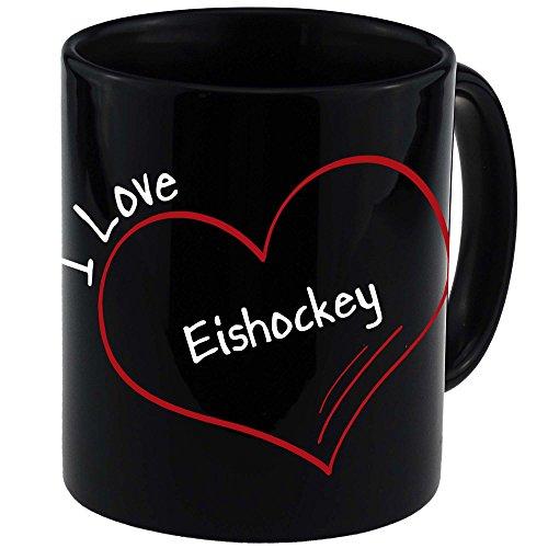 Tasse Modern I Love Eishockey schwarz - Becher Pott Kaffee Tee Lustig Witzig Sprüche