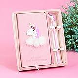 EUGU Cute Pink Unicorn papeleria diario cuaderno y pluma, bonito cumpleaos regalos para chicas