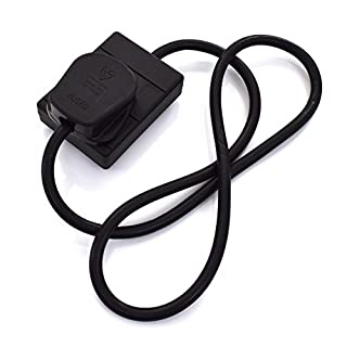 Extension Lead - 1 Gang Plug Socket - Black Power Cable 1m