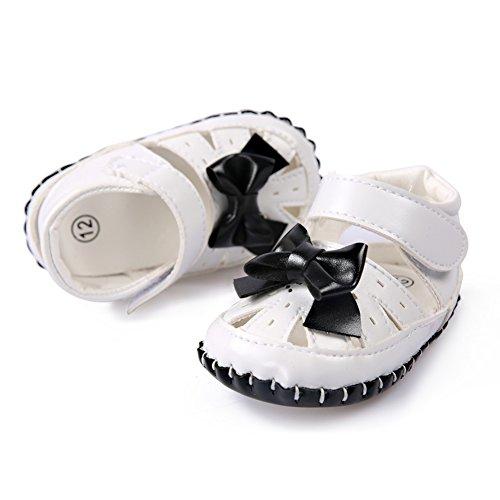 BOBORA Bebe Filles Chaussures Summer Sandales en cuir PU avec Bowknot pour 0-18M Noir