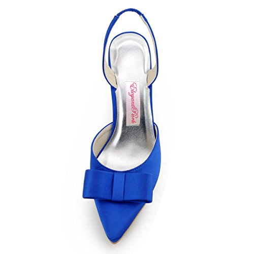 Elegantpark HC1404 bout pointu arc bride arri¨¨re Escarpins Femmes sandale Satin Chaussures de mari¨¦e Bleu