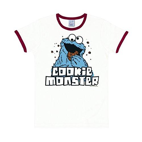 Krümelmonster T-Shirt - Sesamstrasse T-Shirt - Cookie Monster Shirt Original - Rundhals T-Shirt von Logoshirt - weiß - Lizenziertes Originaldesign