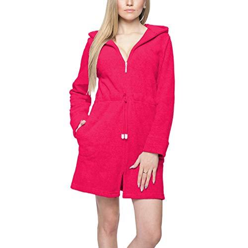 Damen Bademantel Kurz Morgenmantel mit Kapuze und Reißverschluss Saunamantel, Farbe: Pink, Größe: S