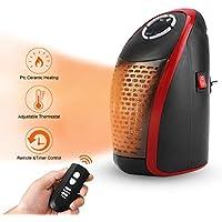 AMAES Chauffage Soufflant Radiateur Electrique 400W Mini Céramique avec Prise/Réglable/Thermostat/Télécommande/Minuterie pour Une Utilisation en Intérieur