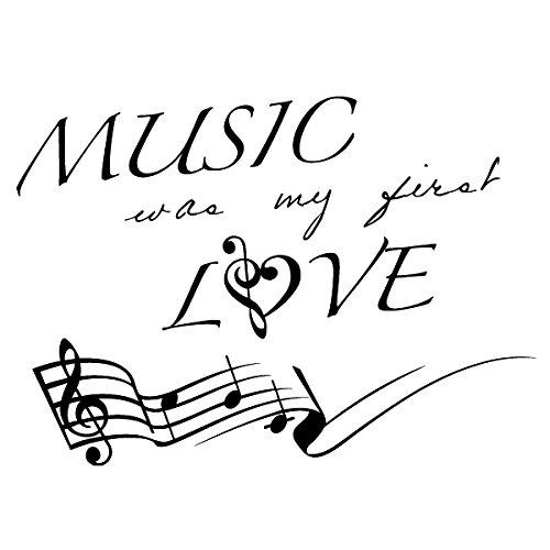 Wadeco Music was my first love Spruch Wandtattoo Wandsticker Wandaufkleber 35 Farben verschiedene Größen, 48cm x 35cm, rot