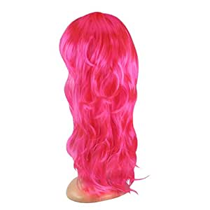SWT Pink Stunning Womens Long Curly Wavy Wig for Ladies Girls Cosplay Costume Party Fancy Dress