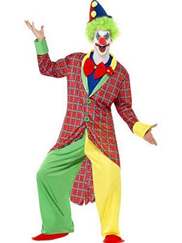 costumebakery - Männer Herren traditionelles Zirkus Clown Kostüm, mit Hose, Frack Jacket, Mock Hemd, Fliege und Überschuhen, perfekt für Karneval, Fasching und Fastnacht, L, Mehrfarbig
