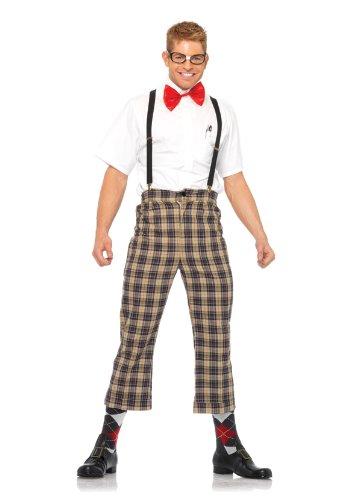 Leg Avenue 85033 - 4TL. Frech Nerd-Kostüm-Set, Größe L, braun, Männer Karneval Kostüm Fasching