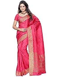 MIMOSA Women's Silk Saree Free Size (Strawberry, 2037-STRAB)