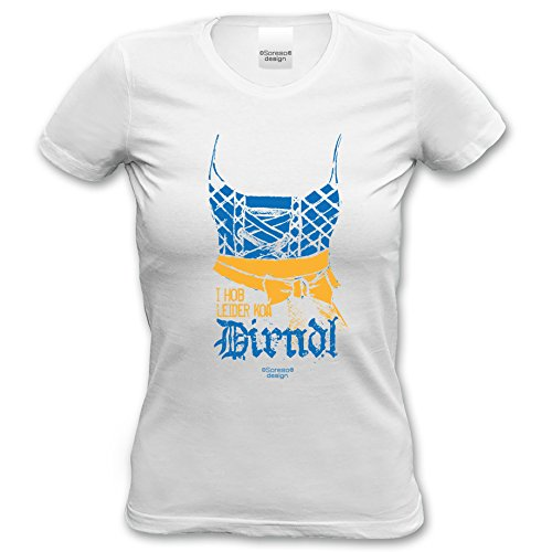 Damen Girlie Trachten T-Shirt Outfit zur Lederhose I hob leider koa Dirndl Oktoberfest Wiesn Volksfest und Party Farbe: weiss Weiß