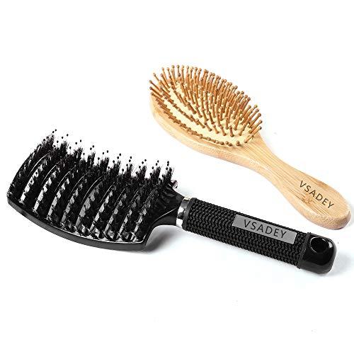 Vsadey Bambus Holz Haarbürste & Detangling Haarbürste, Antistatische Massage Haar Bürste zum täglichen Durchkämmen und Massage, Haarbürste mit Wildschweinborsten zum Glätten, Föhnen & Frisur Machen