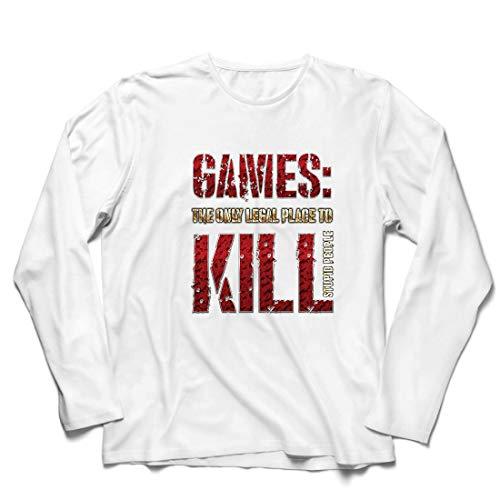 lepni.me Herren T Shirts Spiele: der einzige legale Ort, um dumme Menschen zu töten Zitat (XXXXX-Large Weiß Mehrfarben)