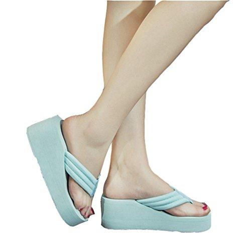Plateau Flip Flops Wedge Sandalen Slip auf Antiskid Strand Pantoffeln Weiß (Dressy Flip-flops)