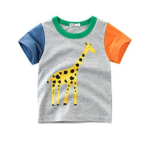 Giraffe Kinder-t-shirt (BenCreative Sommer Kinder Kurzhülse T-Shirt 100% Baumwolle niedlichen Cartoon-Tier gedruckt Jungen Mädchen Tops Giraffe 100cm/2-3Y)