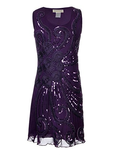 men Angestrahlt Blingeling Pailletten 1920 Flapper Gatsby Cocktail Ärmellos Party Mini Kleid ()
