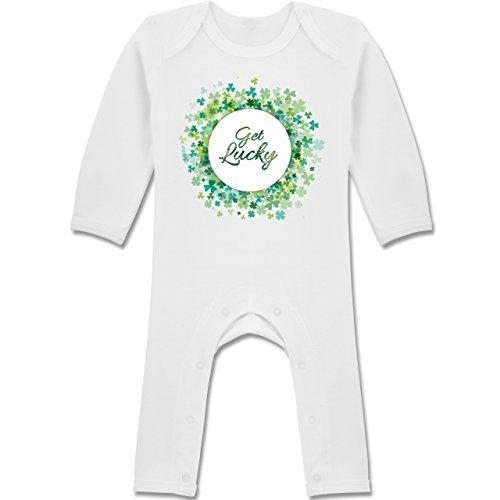 Anlässe Baby - Get lucky Kleeblatt Glück St. Patrick's Day - 12-18 Monate - Weiß - BZ13 - Langarm Baby-Strampler / Schlafanzug für Jungen und Mädchen (Kinder 13 Lucky Kleidung)