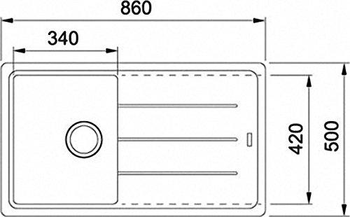 Franke Basis BFG 611–86Onyx lavandino in granito Nero Lavello da incasso lavandino