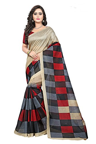 Jaanvi fashion Women's Bhagalpuri Silk Printed Saree with Blouse Piece - checks-parent_Multicolour_Free...