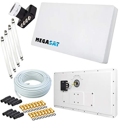 Megasat Flachantenne PROFI Line H30 D4 Quad inkl. Fensterhalterung + 50m Kabel + 4x Fensterdurchführung. Neueste Generation mit besten Empfangswerten für HD und SD TV (einfache und stabile Montage)