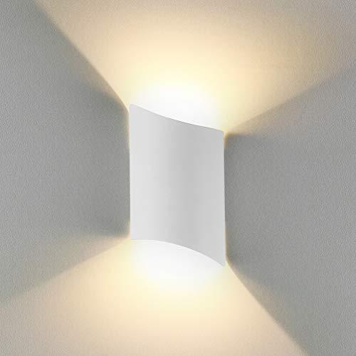 LED Wandleuchte Innen Up Down Warmweiß, 12W LED Wandlampe Außen Wasserdicht IP65 Aluminium Modern Leuchte Wandlicht Wandbeleuchtung für Wohnzimmer Schlafzimmer Flur Treppenhaus Bad, Weiß