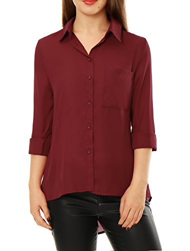 Allegra K Manches longues femmes K Allegra Tunique Chemise chiffon ouvert red