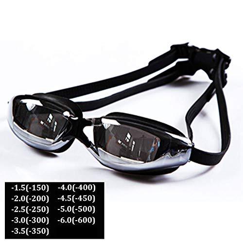 MOXIN Optische Schwimmbrille mit Sehstärke (Diverse Zwischen -1.5 bis - 6.0) wasserdicht und Anti-Nebel-HD-Schwimmbrille mit UV-Schutz Silikon Große Rahmen beschichtet flach,500°