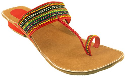 Fancy Kolhapuri Chappal For Women|Colorfull Kolhapuri Chappal with Hills|Red  available at amazon for Rs.299