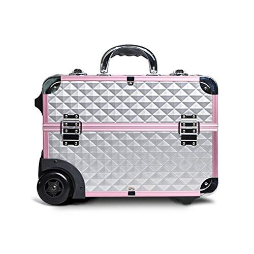 Trolley Malette maquillage Beauty case ouverte avec boîte de rangement de voyage pour maquillage