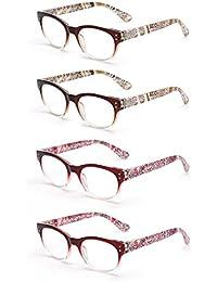 JM 4 Pares Bisagras de Resorte Gafas de Lectura Sombra Color Lectores Para Hombre y Mujer