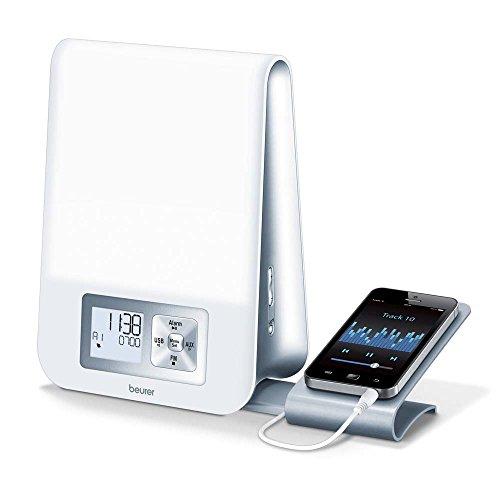 BEURER LUZ DESPERTADOR WL 80  WAKE UP LIGHT  PUERTO USB  RADIO  TRANSICION DE LUZ  LUZ NOCTURNA
