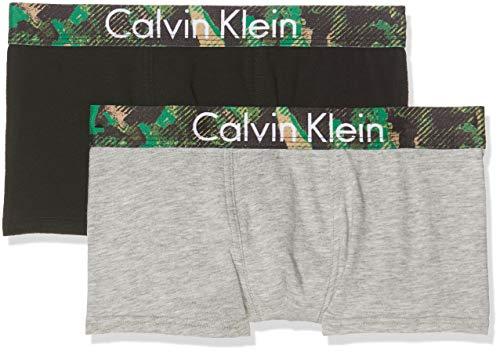 Calvin Klein Jungen 2PK Trunks Boxershorts, Grau (1Greyheather/1Black 021), 140 (Herstellergröße: 8-10) (2erPack)