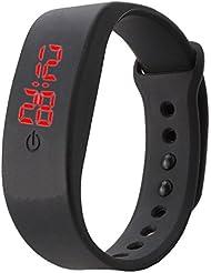 VIESN - Reloj deportivo, de pulsera, automático, digital, silicona, pantalla LED, unisex negro