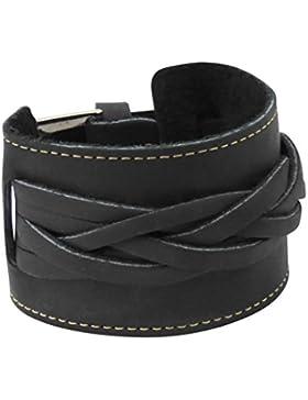 Echt Lederarmband mit Flechtung schwarz oder braun 5 cm breit