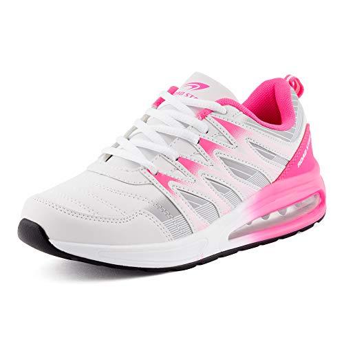 Fusskleidung Herren Damen Sportschuhe Sneaker Dämpfung Laufschuhe Neon Jogging Gym Unisex Weiß Grau Pink EU 37 - Sneakers Damen Designer
