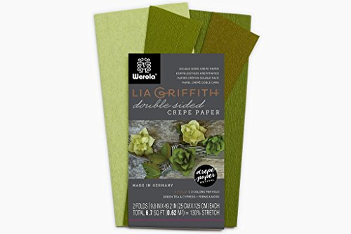 Lia Griffith Extra Fine Crepe Double Sided Paper - 4 colours per pack (Green Tea, Cypress & Ferns, Moss)