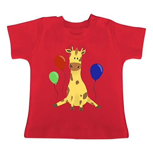 Geburtstag Baby - süße Giraffe Geburtstag - 12-18 Monate - Rot - BZ02 - Baby T-Shirt Kurzarm